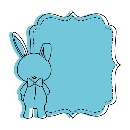 흰색 배경 벡터 일러스트 레이 션을 통해 토끼 아이콘을 가진 베이비 샤워 카드 스톡 콘텐츠 - 84708784