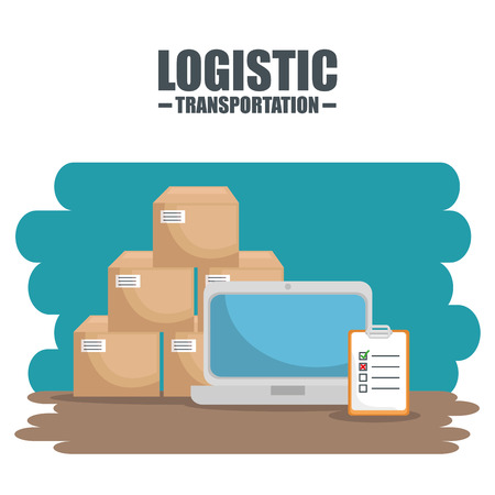 Laptop boxes and checklist of Logistic transportation and delivery theme Vector illustration
