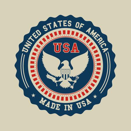 シール スタンプとアメリカ合衆国テーマ ベクトル図のイーグル  イラスト・ベクター素材