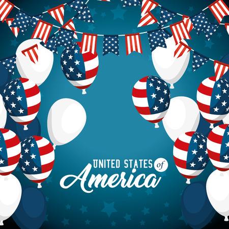 Ballonnen van de Verenigde Staten van Amerika thema vectorillustratie