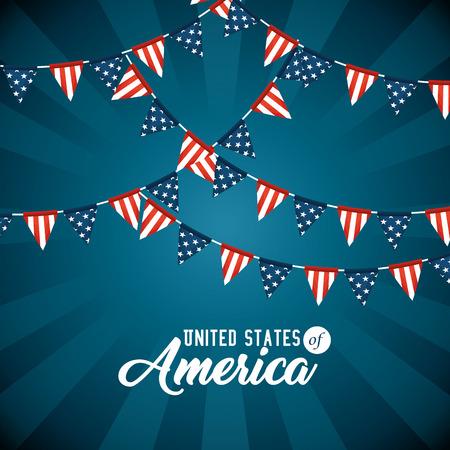 Wimpel van de Verenigde Staten van Amerika thema vectorillustratie Stock Illustratie