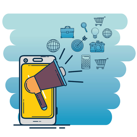 Smartphone and megaphone of Digital and online marketing theme Vector illustration