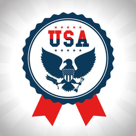 Seal stamp and eagle of United States of America theme Vector illustration Ilustrace