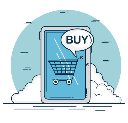 Tablet and shopping cart of Digital and online marketing theme Vector illustration Ilustração
