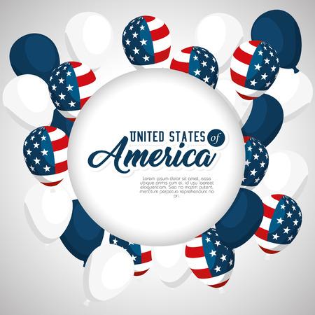 アメリカ合衆国のテーマ ベクトル図の風船  イラスト・ベクター素材