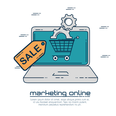 Laptop and shopping cart of Digital and online marketing theme Vector illustration Illustration