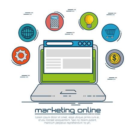 Laptop and icon set of Digital and online marketing theme Vector illustration