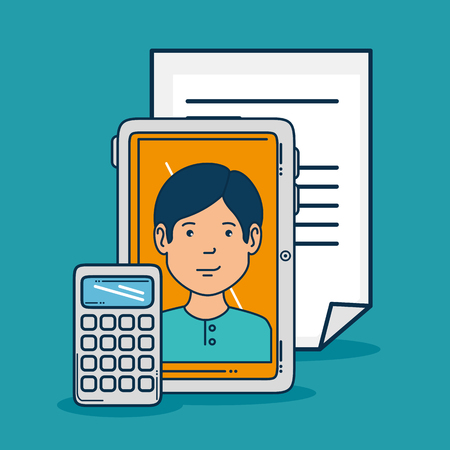 Tablet and boy of Digital and online marketing theme Vector illustration