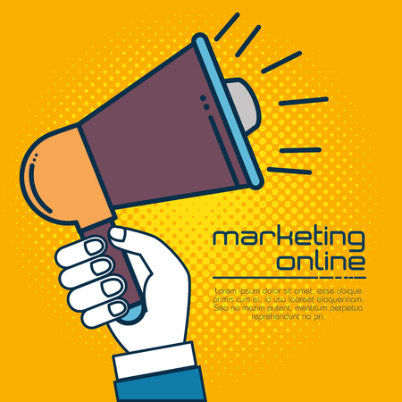 Megaphone of Digital and online marketing theme Vector illustration