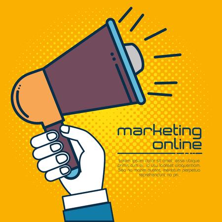 Megaphone of Digital and online marketing theme Vector illustration