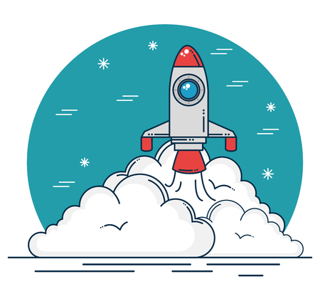 Rocket of spaceship aircraft and start up theme Vector illustration