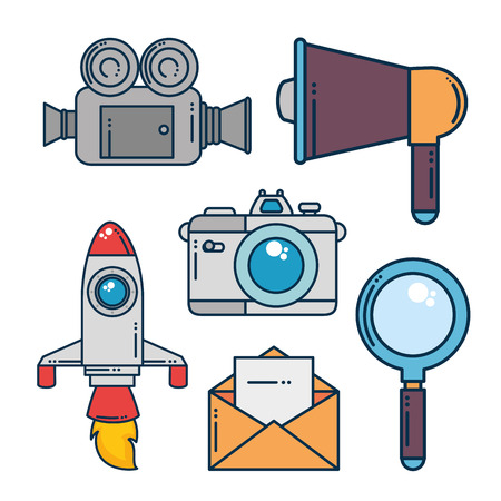 Icon set of Digital and online marketing theme Vector illustration