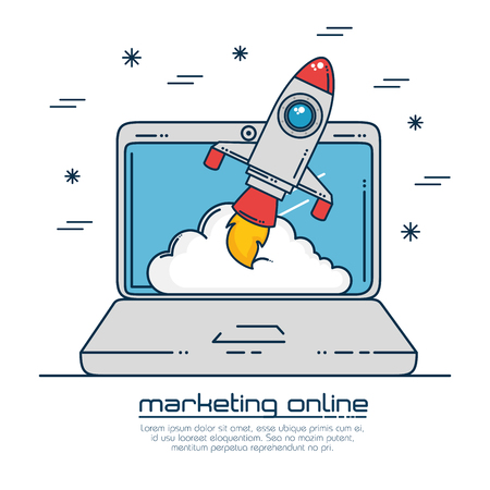 Laptop and rocket of Digital and online marketing theme Vector illustration