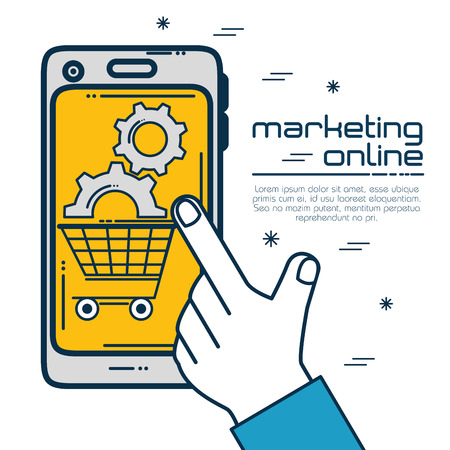 Smartphone and gears of Digital and online marketing theme Vector illustration