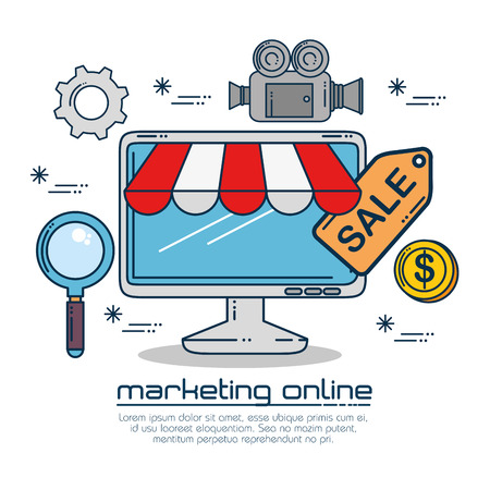 Computer and lupe of Digital and online marketing theme Vector illustration