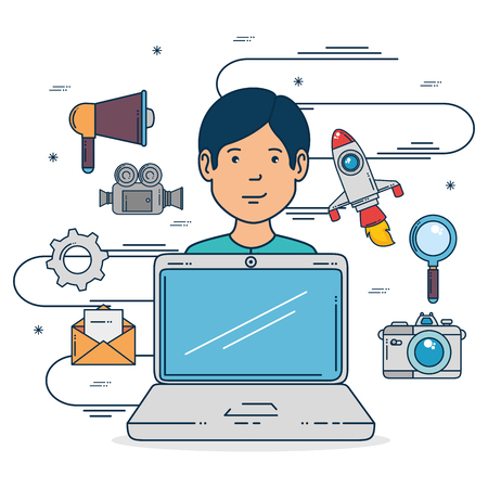 Laptop and boy of Digital and online marketing theme Vector illustration 向量圖像