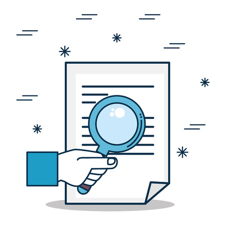 Document and loupe of Digital and online marketing theme Vector illustration