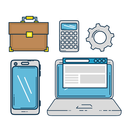 Laptop smartphone and suitcase of Digital and online marketing theme Vector illustration Ilustração
