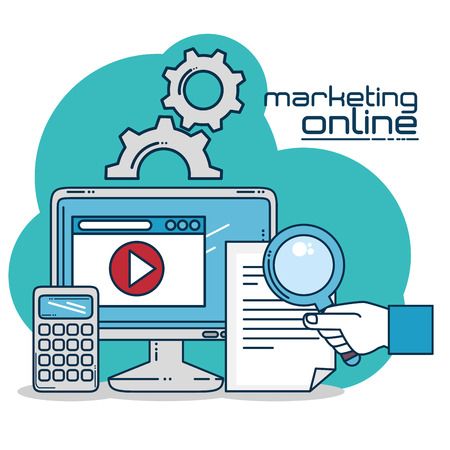 Computer and document of Digital and online marketing theme Vector illustration