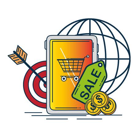 Tablet and target of Digital and online marketing theme Vector illustration Illustration