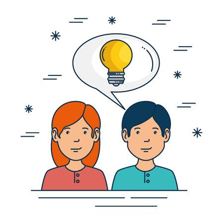 女の子男の子と大きなアイデアと創造性テーマ ベクトル図の電球