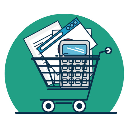Shopping cart of Digital and online marketing theme Vector illustration