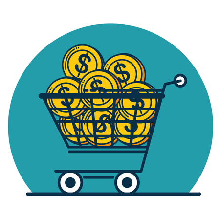Shopping cart and coins of Digital and online marketing theme Vector illustration