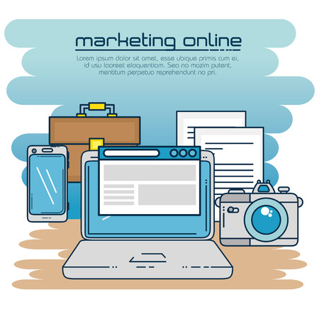 Laptop camera smartphone and suitcase of Digital and online marketing theme Vector illustration