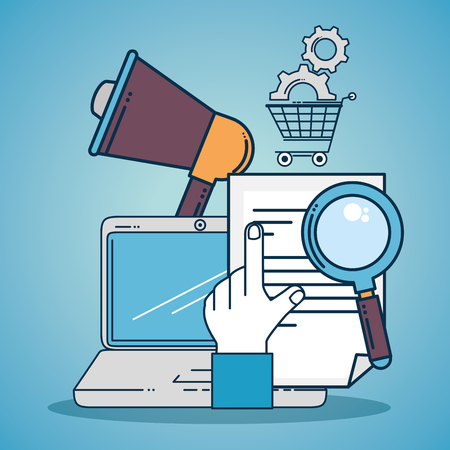 Laptop and megaphone of Digital and online marketing theme Vector illustration