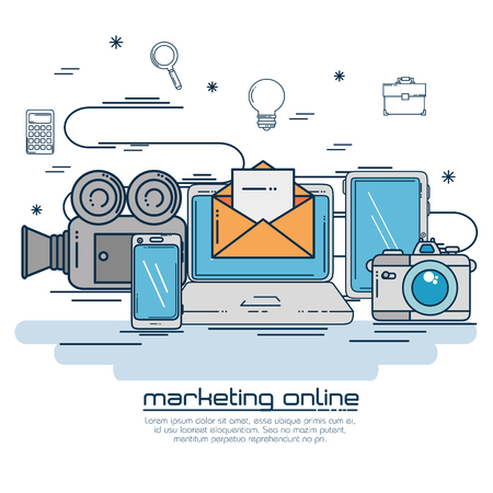 Laptop of Digital and online marketing theme Vector illustration