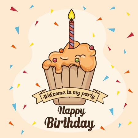 幸せな誕生日やお祝いテーマのベクトル イラストのカップケーキ