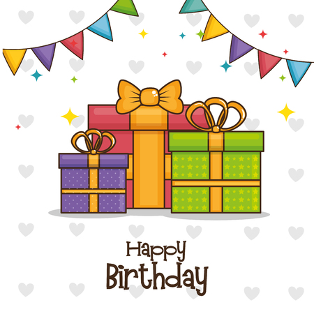 Gifts and pennant of Happy birthday and celebration theme Vector illustration
