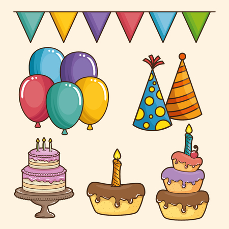 Cake balloons pennant and party hat of Happy birthday and celebration theme Vector illustration