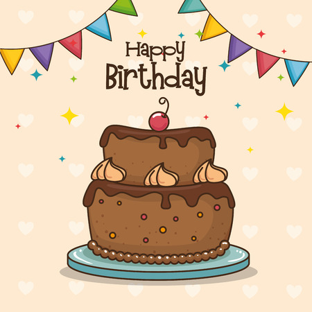 Cake and pennant of Happy birthday and celebration theme Vector illustration