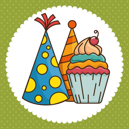 Party hat and cupcake of Happy birthday and celebration theme Vector illustration