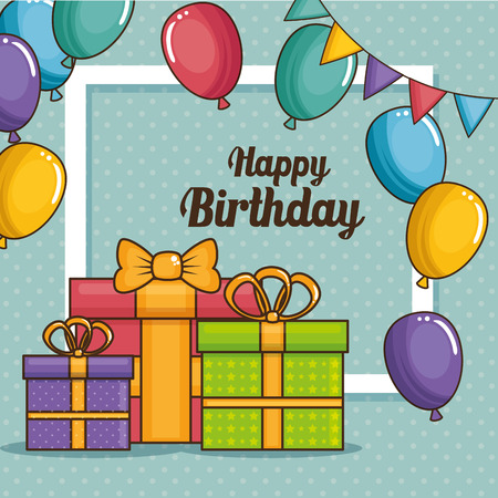 Gifts and balloons of Happy birthday and celebration theme Vector illustration