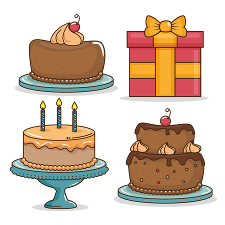 Cake and gift of Happy birthday and celebration theme Vector illustration
