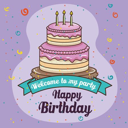 Cake and ribbon of Happy birthday and celebration theme Vector illustration