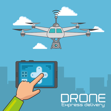 Drone and tablet of Express delivery and technology theme Vector illustration Illustration
