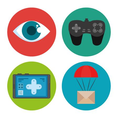 Oogtablet gamepad en envelop van Uitdrukkelijke levering en technologiethema Vectorillustratie Stock Illustratie