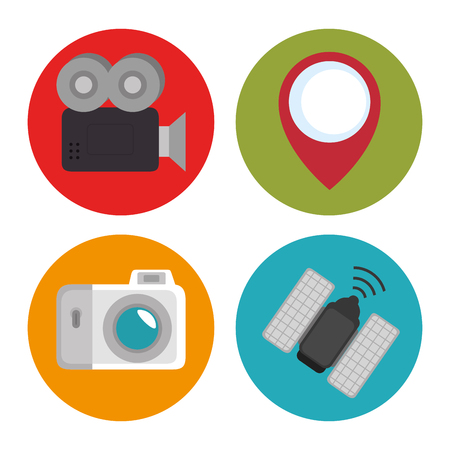 Videocamera camera satellite and gps mark of Express delivery and technology theme Vector illustration