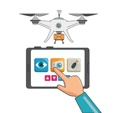Drone en tablet van Express levering en technologie thema Vector illustratie Stock Illustratie
