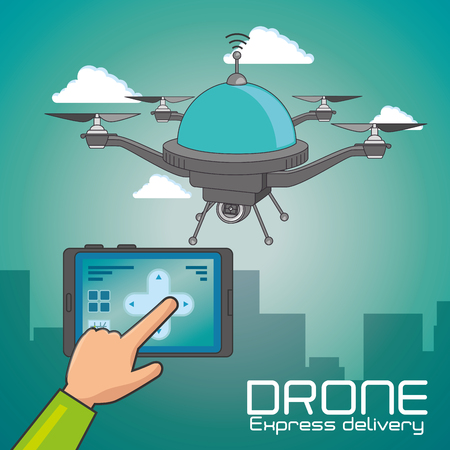 Drone and tablet of Express delivery and technology theme Vector illustration Ilustração