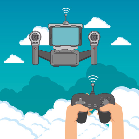 Drone and gamepad of Express delivery and technology theme Vector illustration