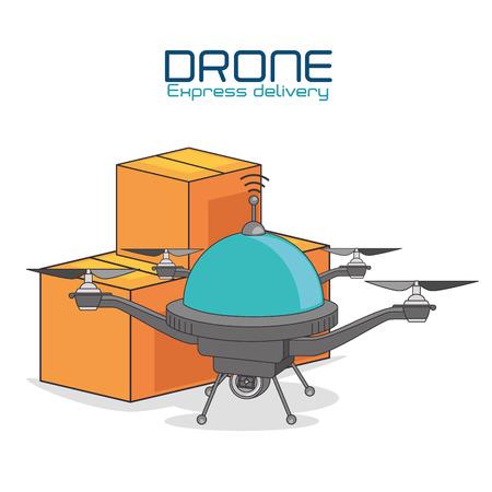 Hommel en doos van Uitdrukkelijke levering en technologiethema Vectorillustratie