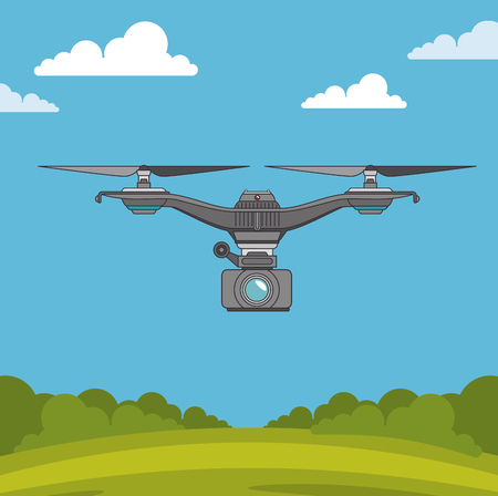 Drone of Express delivery and technology theme Vector illustration