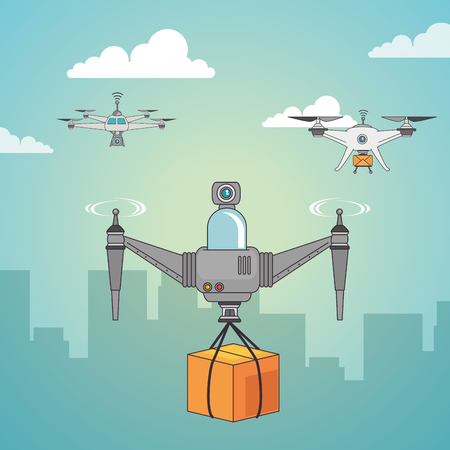 Drone and box of Express delivery and technology theme Ilustración vectorial Foto de archivo - 84733415
