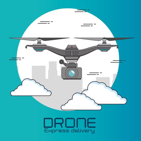 Drone of Express levering en technologie thema Vector illustratie Stock Illustratie