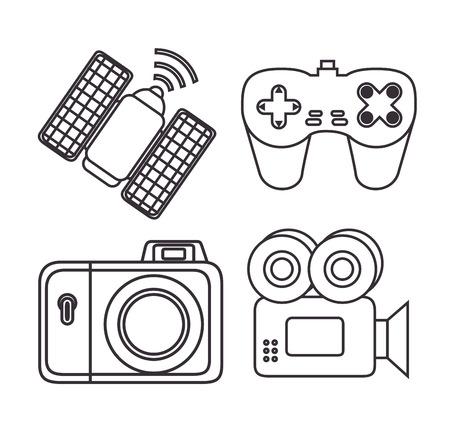 Videocamera camera satelliet en gamepad van Express levering en technologie thema Vector illustratie Stock Illustratie