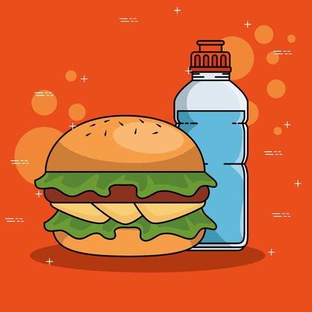 Hamburger and bottle of Fitness sport and gym theme Vector illustration
